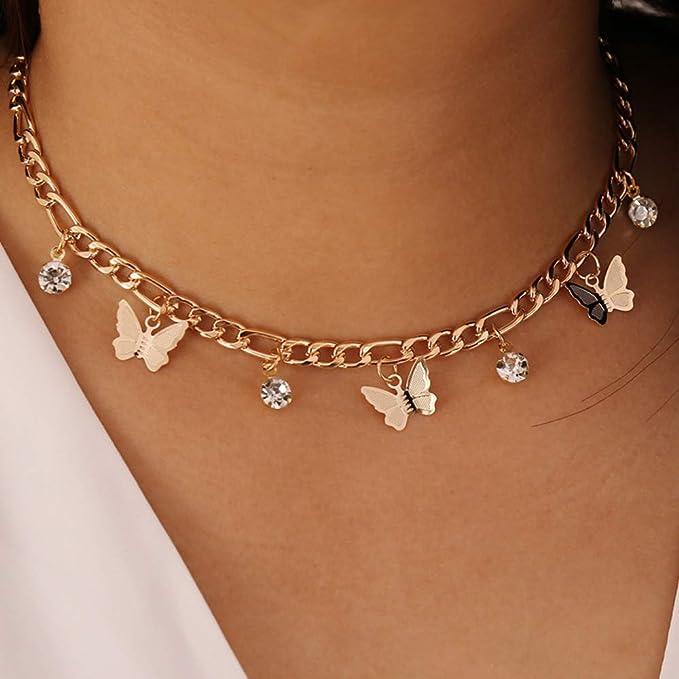 Halskette Damen Schmetterling Anhänger Zirkonia Vintage Kette Halsschmuck