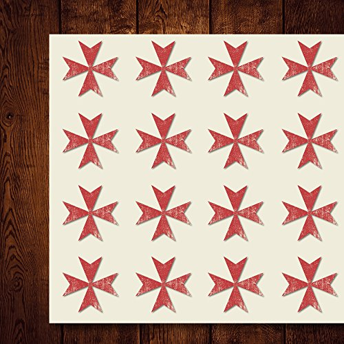 Maltese Cross Religion Chopper Craft Stickers, 44 Stickers at 1.5 inches, Great Shapes for Scrapbook, Party, Seals, DIY Projects, Item 1386246 (Cross Shape Maltese)