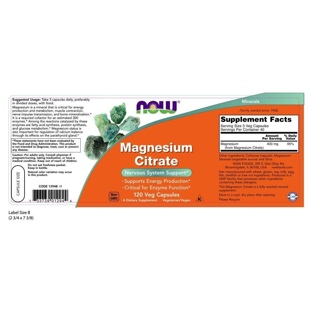 Amazon.com: NOW Foods Magnesium Capsules, 1294, Paquete de 1 ...
