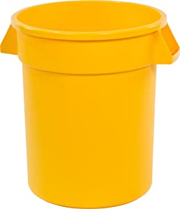Carlisle 34102004 Bronco Round Waste Container Only, 20 Gallon, Yellow, Pack of 6