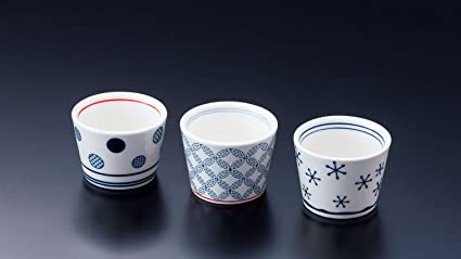 3 Set Di Tazze Yamako Giapponese Sake Cup Kochoco 丸紋 Marumon