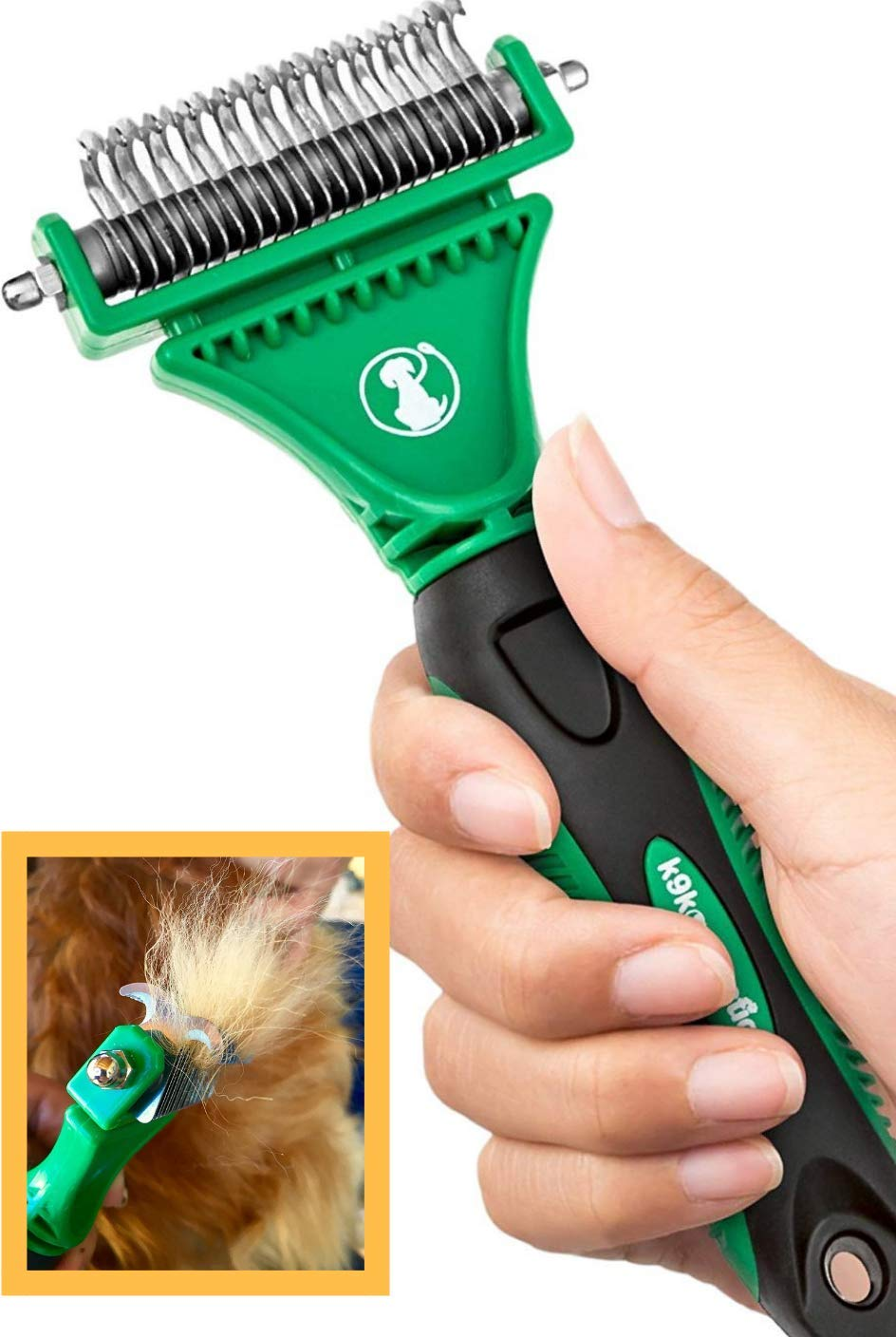 k9konnection DEMATTING Tool for Dogs and Cats | Undercoat Rake with Dual Shedding Blades | Cat Hair Remover Comb for Knots, Tangles & Mats | Dog Brush for Long Haired | Pet Grooming Kit by k9konnection