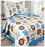Elegant Home Kids Multicolor Lions Elephants Giraffes Alligators Zoo Animal Kingdom Safari Themed 2 Piece Coverlet Bedspread Quilt for Kids / Boys Twin Size