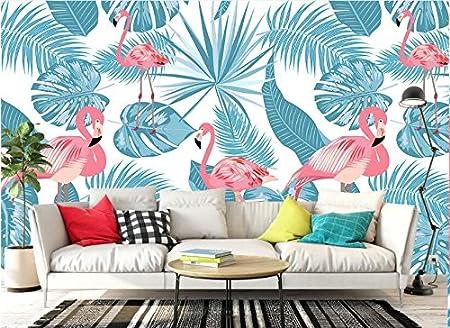 Yosot Mode Personnalis/é Papier Mural Simple Nord Europ/éen Flamingo Peints /À La Main Peinture D/écoration Plantes Tropicales Papier Peint 3D-350Cmx245Cm