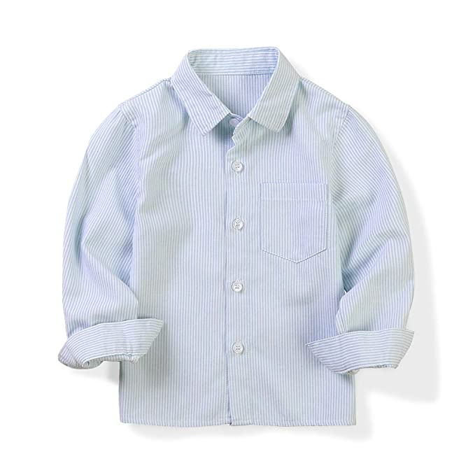 Essentials Camisa de manga larga hecha de tela Oxford para ni/ño
