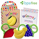Baby & Infant Teething Pain & Gum Soreness Relief Educational Toy Massaging Teethers Set Of 3 By WIMMZI - Premium Quality, Durable, Food Grade, BPA Free, Silicone - Fruit Patterns, Ergonomic Ring Design - Striking Colours - Freezer & Dishwasher Safe
