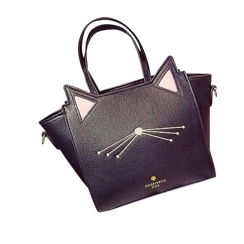 zarupeng Bolso de gran capacidad linda mujer gato orejas de gato hombro Messenger bag (Negro