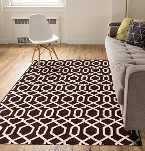 Zipper Helix Brown Geometric Lattice Modern Contemporary Casual Area Rug 5×7 5 3 x 7 3 Easy to Clean Stain Fade Resistant Shed Free Classic Traditional Moroccan Trellis Living Dining Room Rug