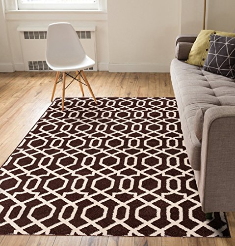 """Zipper Helix Brown Geometric Lattice Modern Contemporary Casual Area Rug 8×10 8×11 (7'10"""" x 10'6″) Easy Clean Stain Fade Resistant No Shed Classic Traditional Moroccan Trellis Living Dining Room"""
