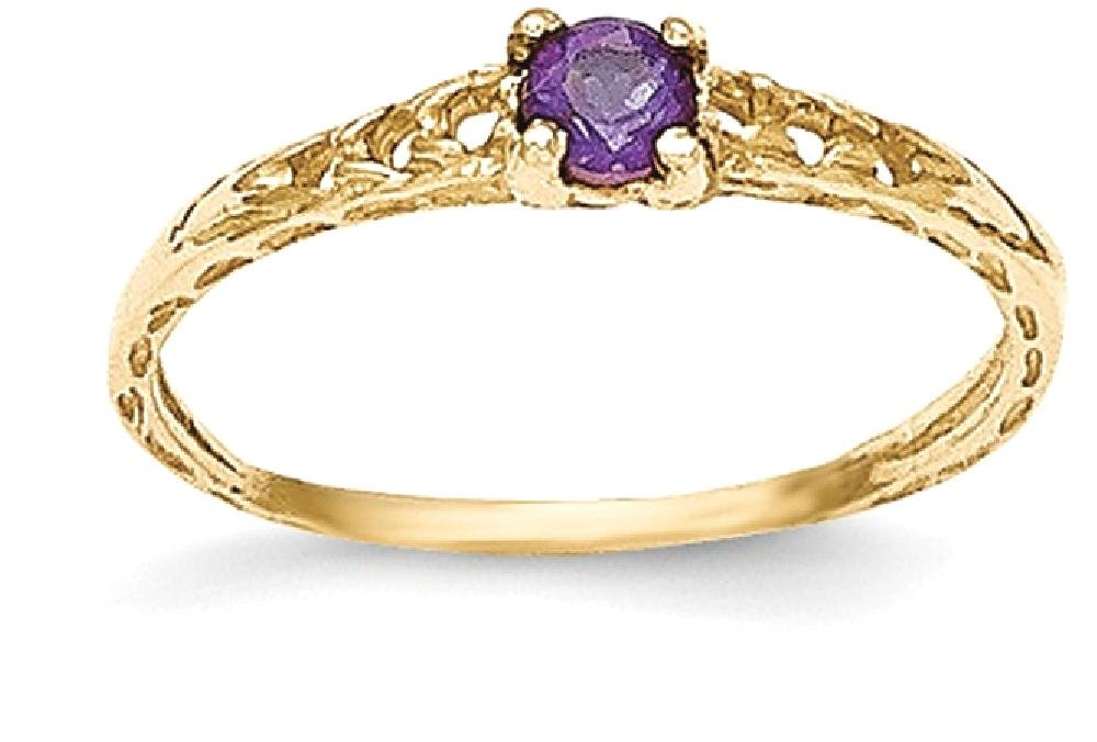 ICE CARATS 14k Yellow Gold 3mm Purple Amethyst Birthstone Baby Band Ring Size 3.00 February Fine Jewelry Gift Set For Women Heart