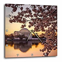 3D Rose dpp_207301_3 3dRose Cherry Blossoms and the Jefferson Memorial, Washington DC, USA. -Wall Clock 15-inch