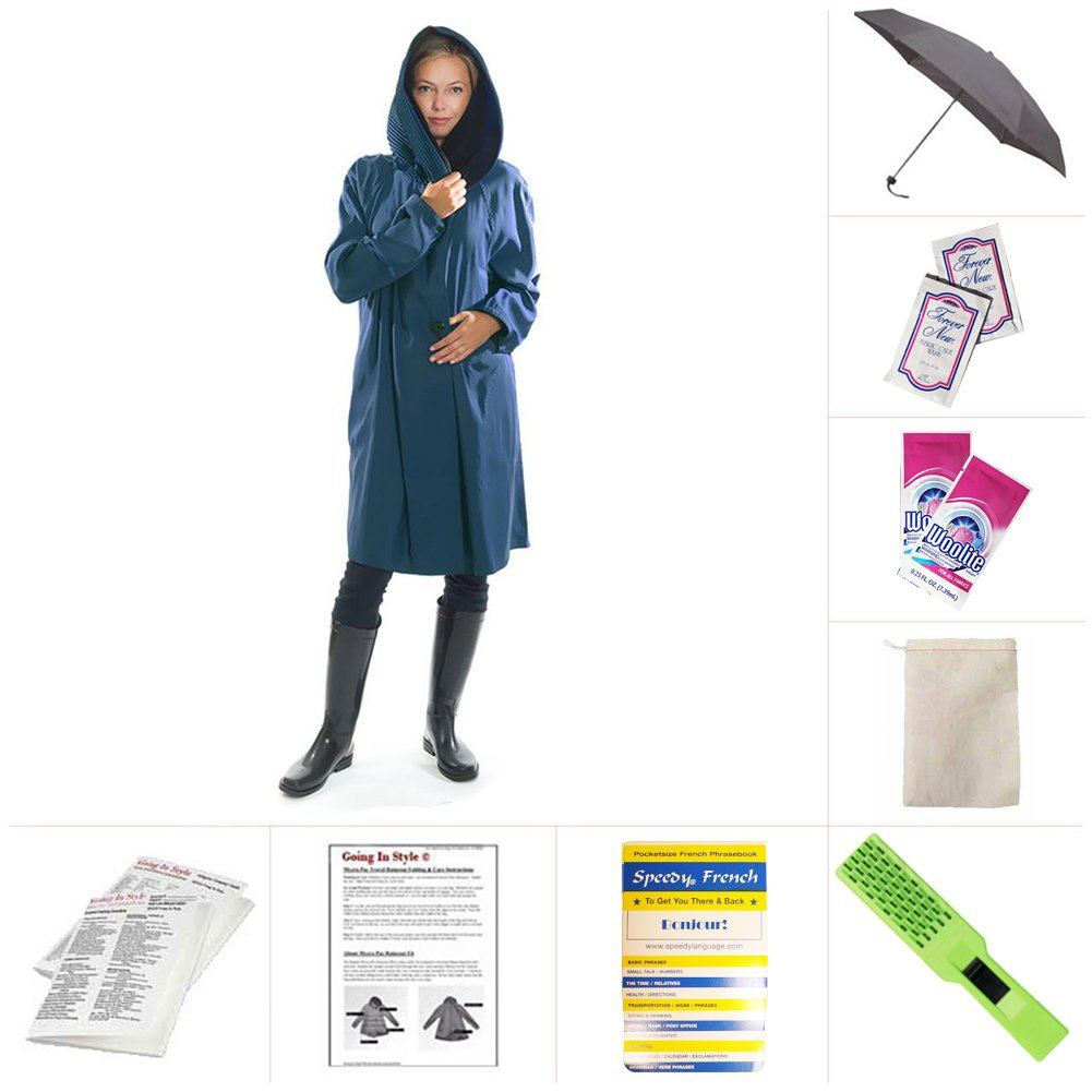 Mycra Pac Short Donatella Fashion Travel Raincoat (Extra Small, Sapphire)