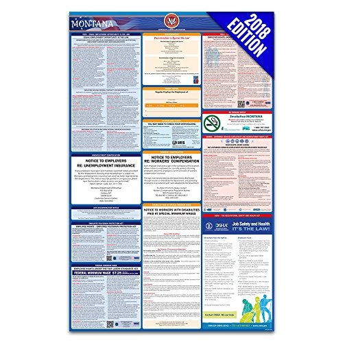 2018 Montana Labor Law Poster – State & Federal Compliant – Laminated