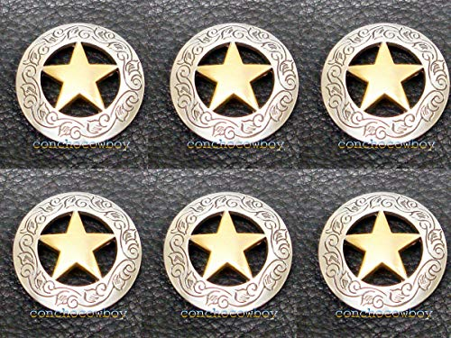 Conchos for Clothes Set of 6 Western Horse Saddle TACK Antique Gold Star Conchos 1-1/8