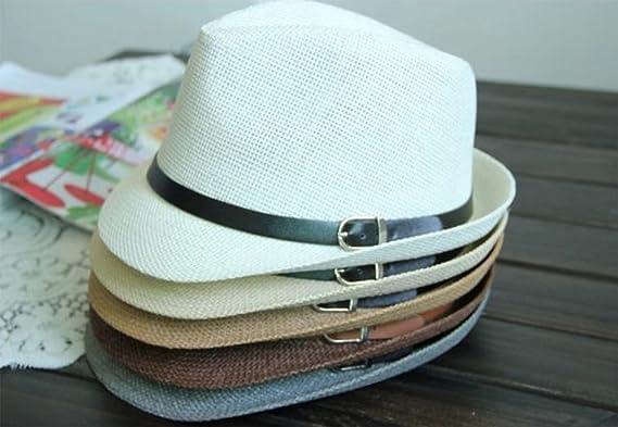 Doitsa sombrero de jazz niños sombrero color Unie cinturón hebilla diseño Gorra  verano playa paja Jazz Cap transpirable y cómoda Size 52 - 54 cm (Beige)   ... 7f5aaa98d4b