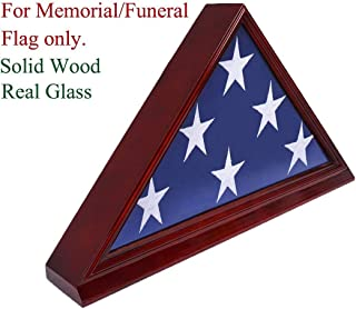 "product image for Solid Beech Wood Flag Display Case for 5""X 9.5"" Burial/Funeral/Veteran Memorial Cherry"