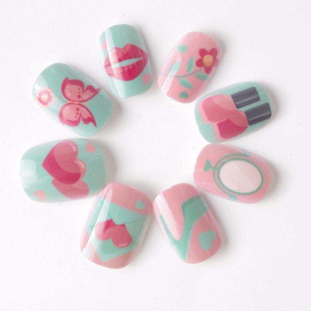 Candy Leben Kinder Fake Nägel pre-glue 20 PCS Pink Blau Nail Tipps ...