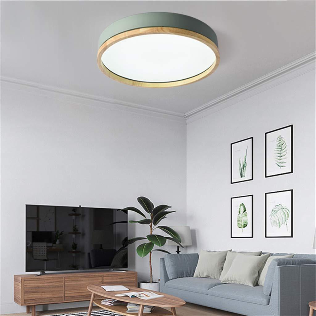 JINWELL Holz Deckenleuchte Weiß Runde Schlafzimmer Lampe