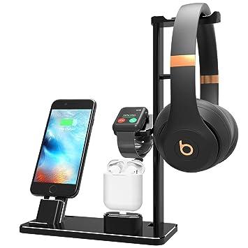 Yomeng Soporte de Carga para Apple Watch Auriculares,Soporte de Estación de Carga 6 en 1 Muelles de Cargador de Aluminio para iPhone X/8 Plus/XS ...