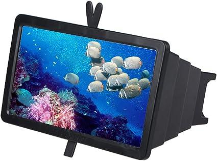 Pantalla de Alta definición de 14 Pulgadas con Pantalla táctil de Alta definición Pantalla de Video de película móvil de Video Inteligente de Alta definición de 4 a 6 Veces Lupa,Black: Amazon.es: