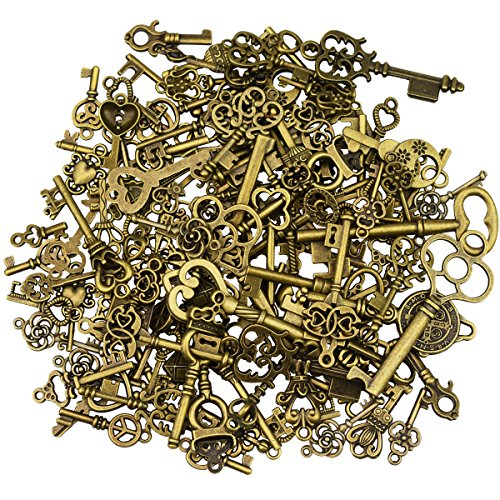 125Pcs Antique Bronze Vintage Skeleton Key Charms DIY Necklace Pendant for Handmade Jewelry Making Wedding Party Favor & Birthday Party (Bulk Vintage Keys)