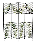 Entrada EN111274 Metal Screen with Leaves Divider, 68'' x 58'' x 1'', Multicolor
