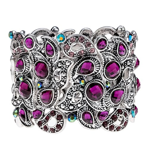 YACQ Angel Jewelry Women's Crystal Flower Stretch Cuff Bracelet Women's Halloween Costume Outfit ()