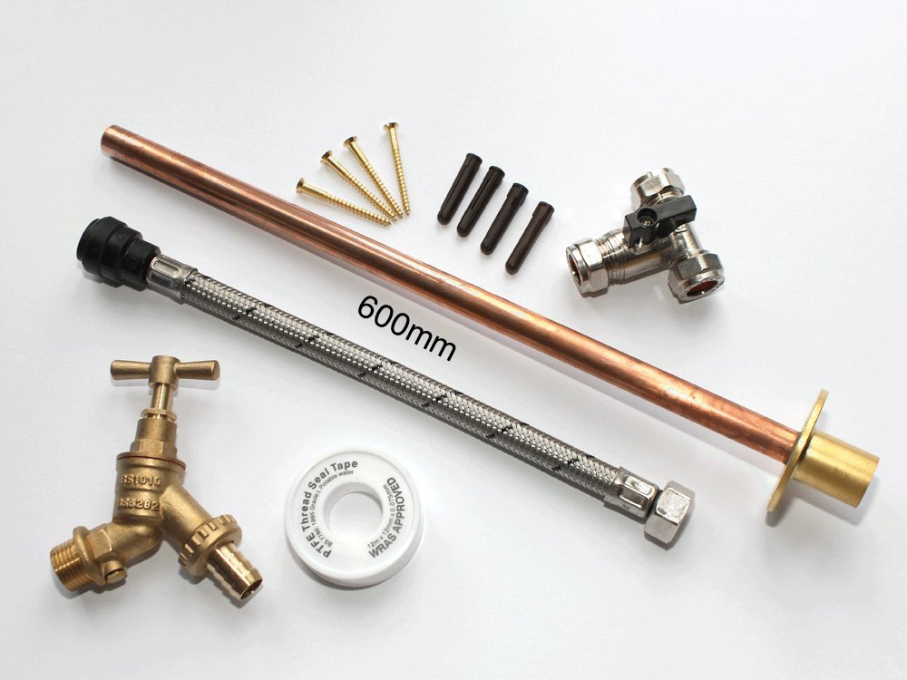 Professional THRU WALL Outside Garden Tap Kit meets Water Regulations Extra long Wall flange 600mm GT1PLUS DIY