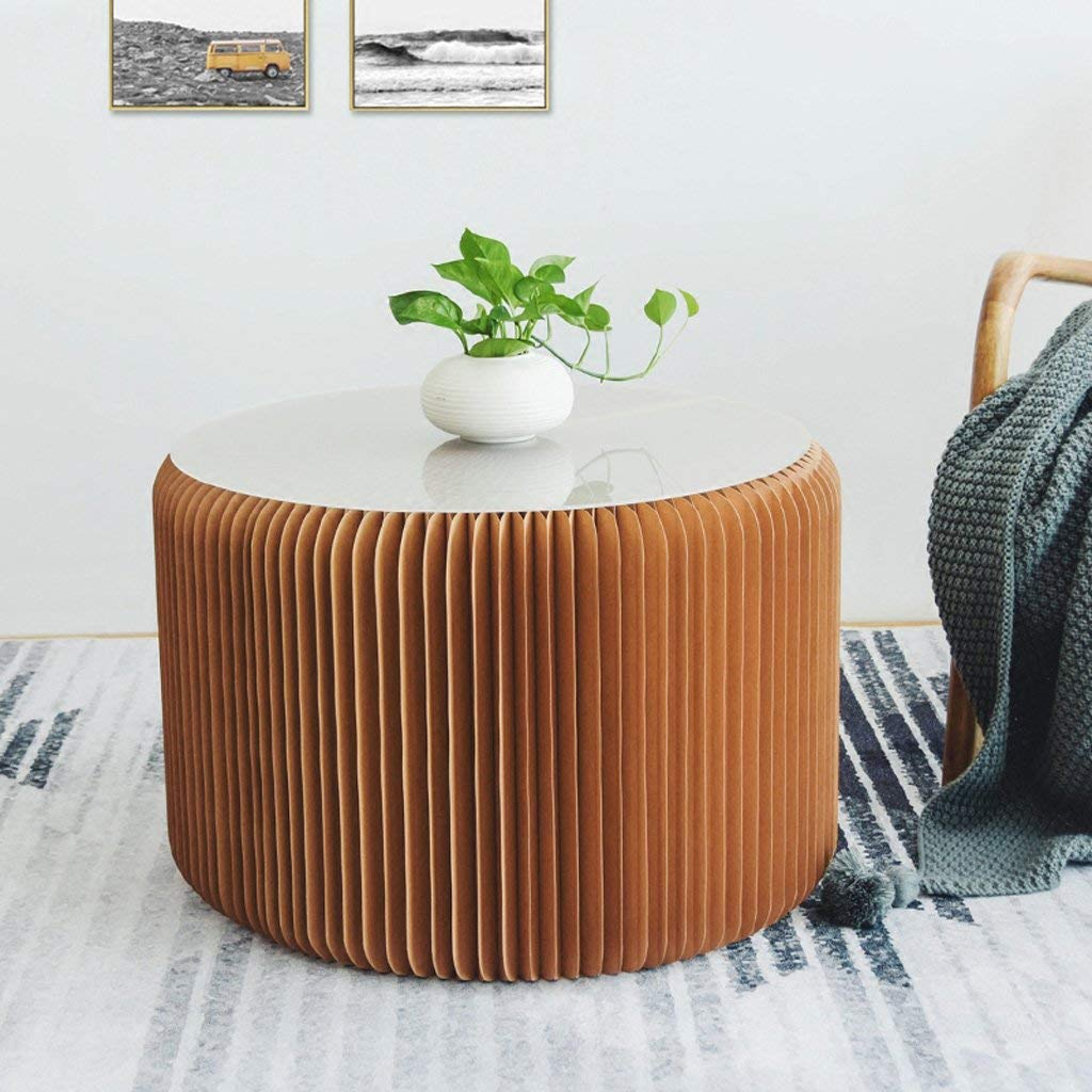 Home Furniture Softeating Modern Design -Fashion Paper Design Accordion Kraft Paper Folding Stool Sofa Chair Ideal School Kitchen,Living /& Dining Room with 3 imitation leather pads,Brown