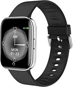 maxtop Smart Watch with Curved Screen - Waterproof Health Watch for Android/iOS Phone with All Day Heart Rate Monitoring and Alarm, Sleep Mornitoring and Exercise Data Monitoring for Unisex (Black)