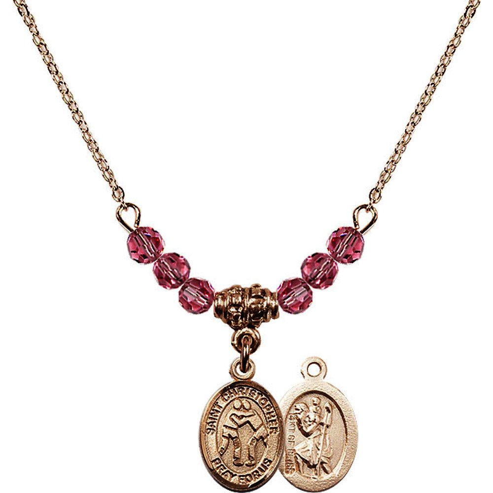 18-Inch Hamilton Gold Plated Necklace w/ 4mm Rose Pink October Birth Month Stone Beads and Saint Christopher/Wrestling Charm by Bonyak Jewelry