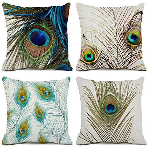 Peacock Feather Decorative Throw Pillow Case Cotton Linen Square Cushion Covers Feather Pillowcases for Sofa Couch Home Decor 4-pack Pillow Cover 18x18 Inches