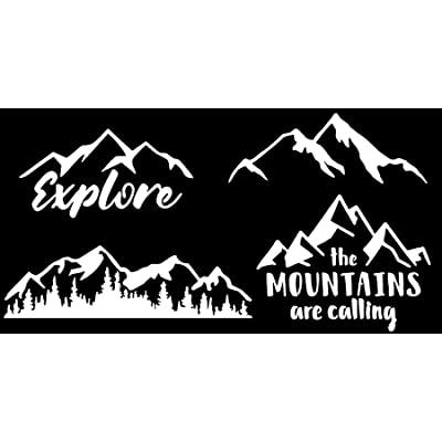 CCDecals Mountain Decal 4 Pack: Explore, Mountains are Calling, Simple and Detailed Mountain Silhouette (Mountain White): Home & Kitchen [5Bkhe1001957]