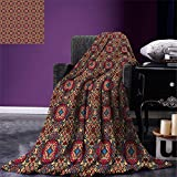 smallbeefly Vintage Digital Printing Blanket Retro Bohemic Colorful Arabian Ethnic Eastern Image with Vivid Colored Details Summer Quilt Comforter Multicolor