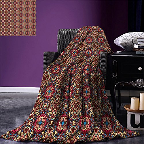 smallbeefly Vintage Digital Printing Blanket Retro Bohemic Colorful Arabian Ethnic Eastern Image with Vivid Colored Details Summer Quilt Comforter Multicolor by smallbeefly