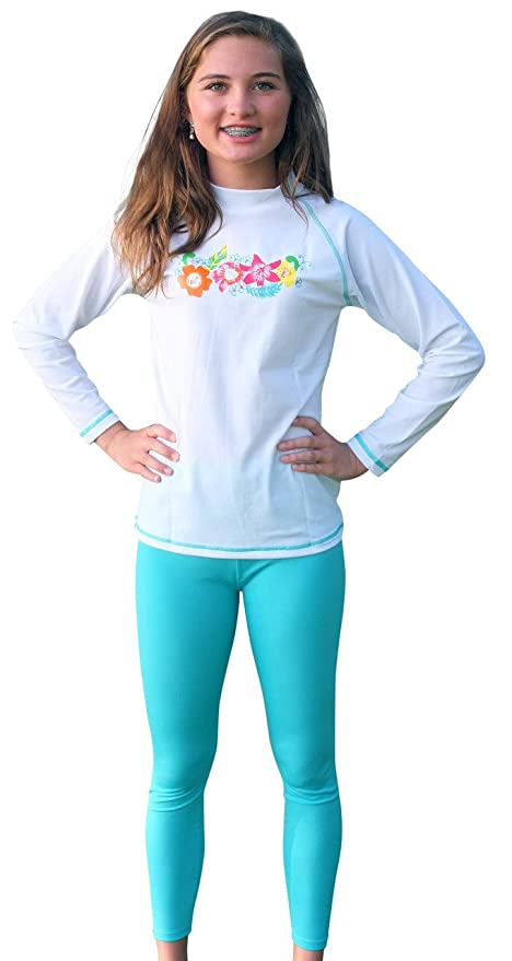 a4a6a5a871 Image Unavailable. Image not available for. Color: Sun Emporium 2-piece UV  Sun Protective Long Sleeve Swim Shirt and Tights ...