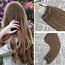 "Moresoo 50g 1g/s 18"" Loop Micro Ring Beads Tipped Hair Extensions Real Remy Human Hair Straight Micro Loop Hair Extensions Light Brown Real Human Hair"