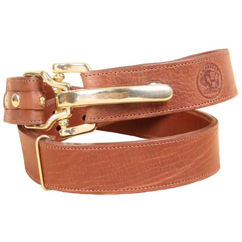 American Buffalo Bison Leather Mens Belt Adjustable No. 5 Cinch Buckle Large USA Made Unique Design Brown Brass