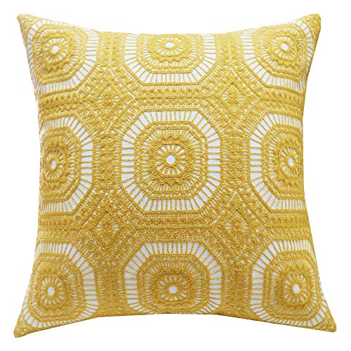 SLOW COW Cotton Embroidery Decorative Throw Pillow Cover Kaleidoscope Design Accent Pillow Cushion Cover for Sofa Couch 18x18 Inches Yellow (Kaleidoscope Zip)