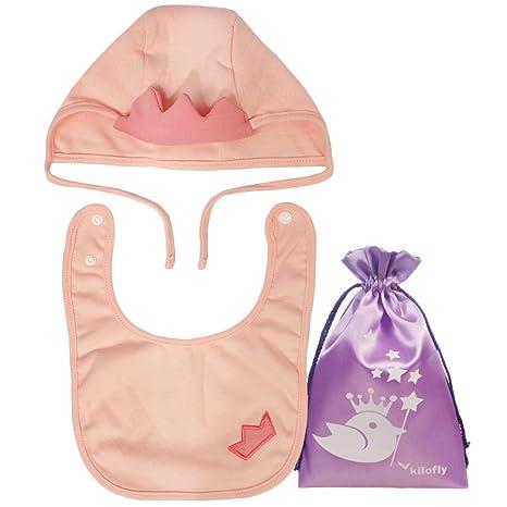 KF bebé niños niñas gorro sombrero gorra y Bib Set, recién nacido ...