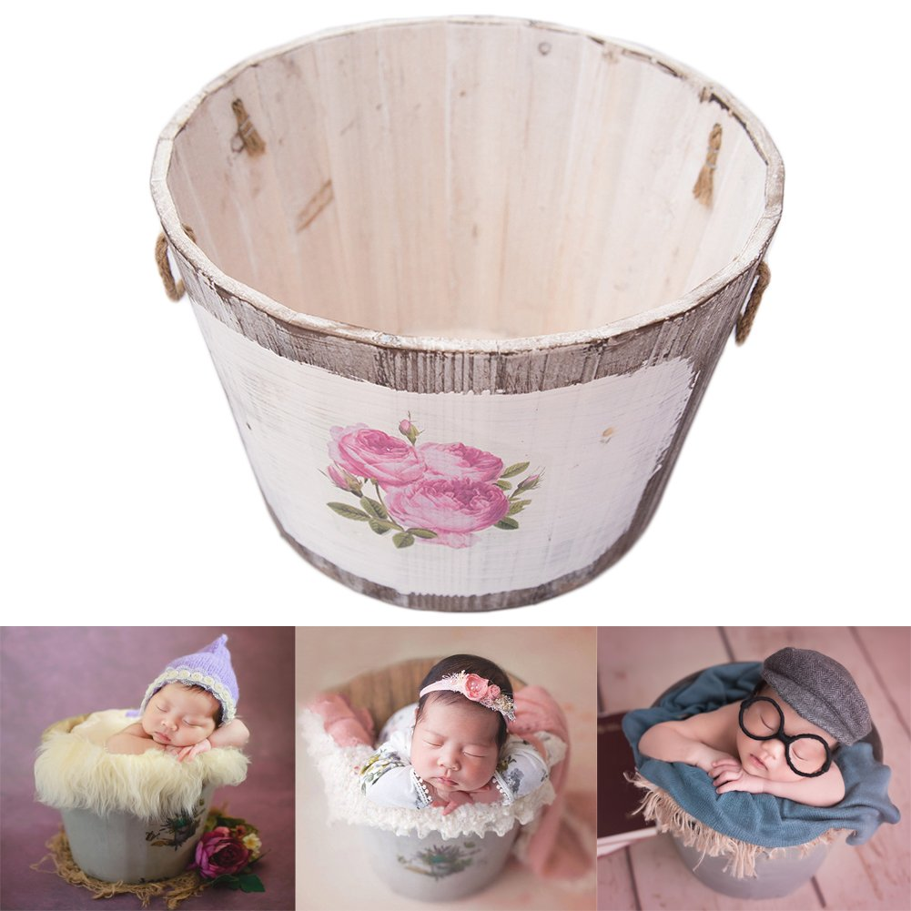Amazon com baby photography props basket newborn photo shoot posing prop monthly wooden baskets white b clothing