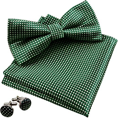 Alizeal Men's Vintage Checkered Bow Tie& Handkerchief& Cufflinks Set (Dark Green) ()