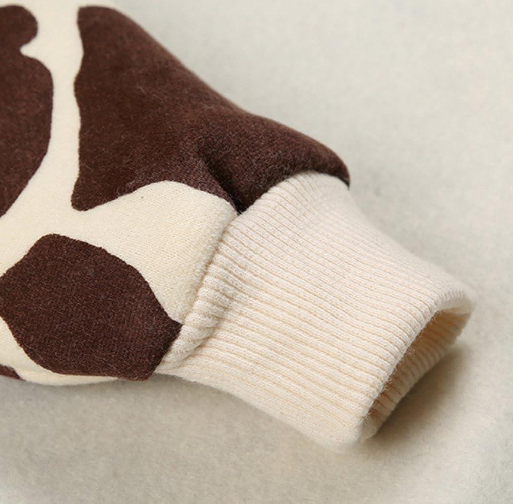 Coffee SUPEYA Baby Boys Girls 3D Cartoon Giraffe Print Hooded Romper Warm Thick Jumpsuit Size 0-3Months//Tag66