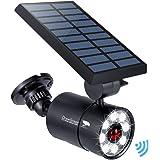 Solar Motion Sensor Light Outdoor Aluminum, 1400-Lumens 9W LED(130W Equi.), 2-Mode Spotlight, Solar Flood Emergency…
