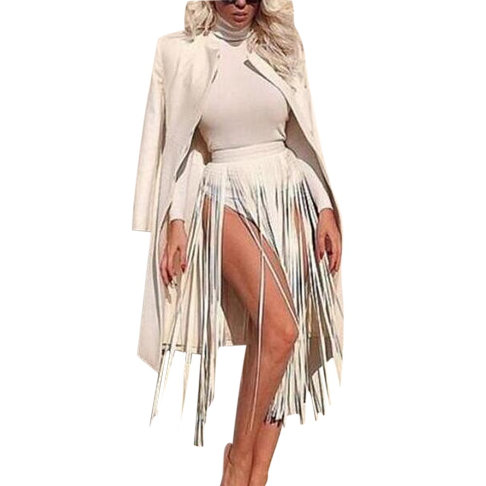 iShine Women's Leather Fringe Dress Belt Gypsy Style Tassel Belt