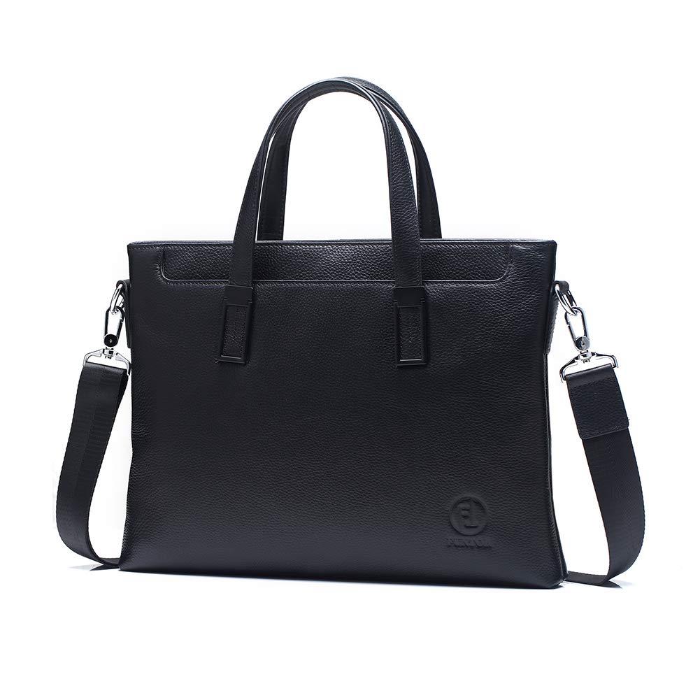 FunTor Briefcases for Men, Genuine Soft Leather Messenger Laptop Bag for Lawyer/Office Slim Business Shoulder Bag with Detachable Strap