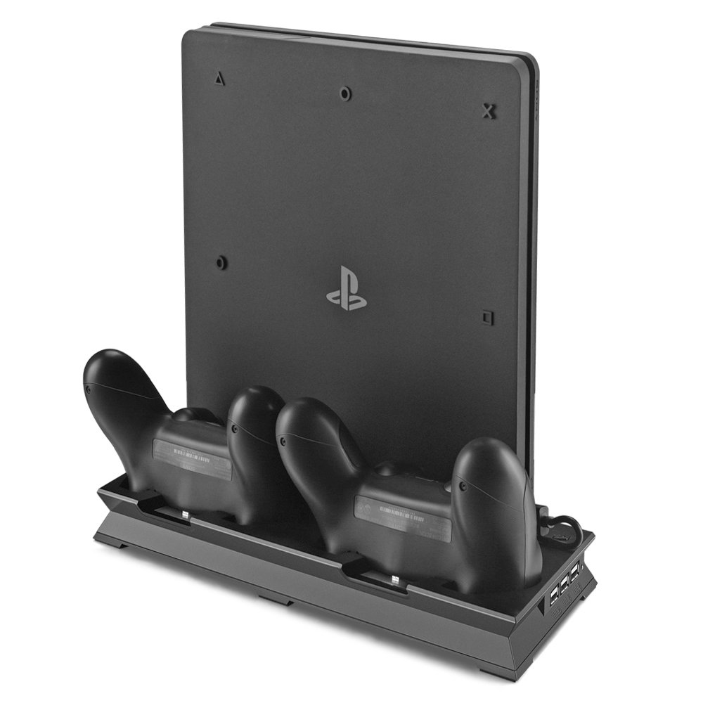 PS4 Slim Vertical Stand Cooling Fan with Dual USB Charger Ports 2 in 1 Dual Use with Cooling and Charging System by ICESPRING