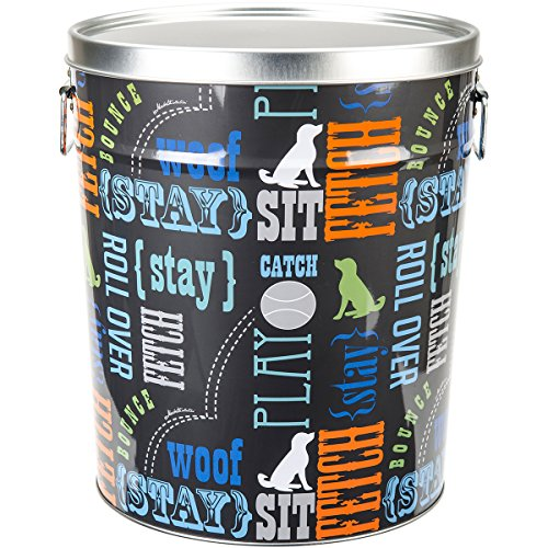 Paw Prints 15 Pound Tin Pet Food Container, Wordplay Design, 10.38 x 11.75 x 10.38 Inches (37581) (Retail Tin)
