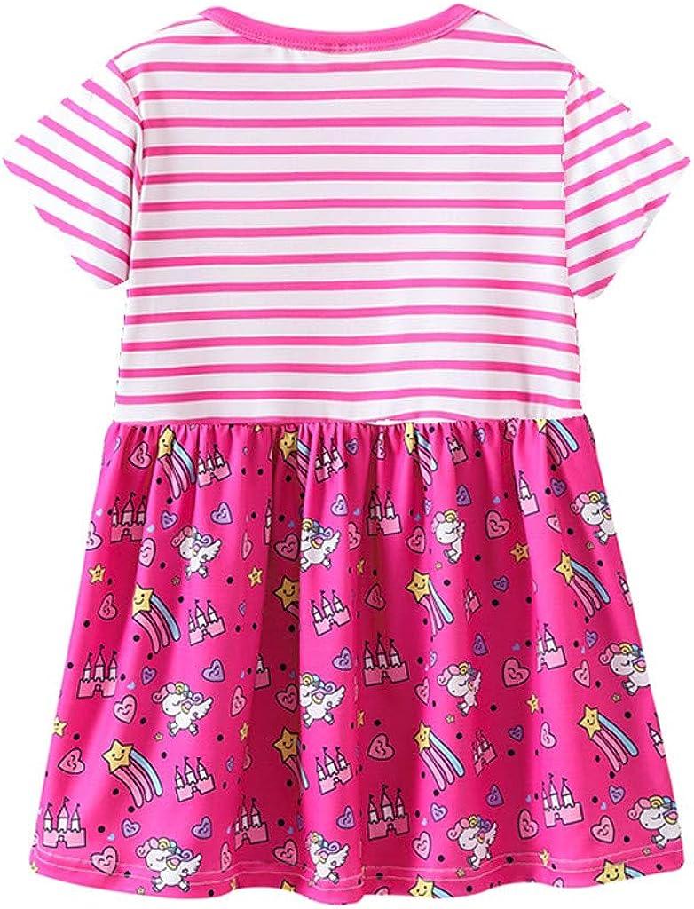 aiyvi Baby Kinder M/ädchen Prinzessin Kleider Streifen Cartoon Blumendruck Party
