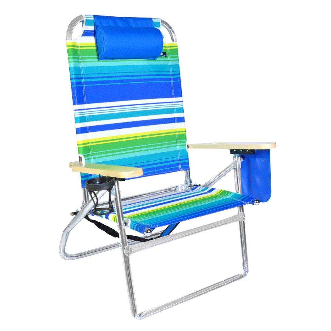 Extra Large – 高Seat Heavy Duty 4位置ビーチ椅子W /ドリンクホルダー B079K8FFWN 851 851